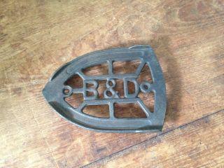 Antique B&d Cast Iron Iron Trivet photo