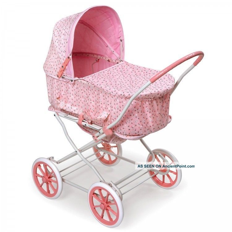 Pink Doll Carriage 3 In 1 Carrier Stroller Buggy Pram Fabric Cover Girls Toys Baby Carriages & Buggies photo
