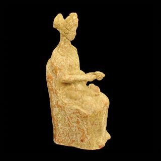 Aphrodite - Ancient Greek Hellenistic Terracotta Figure Of A Seated Lady photo