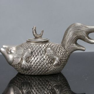 Old Chinese Tibet Silver Handwork Fish - Shaped Teapots W Daqing Mark C608 photo