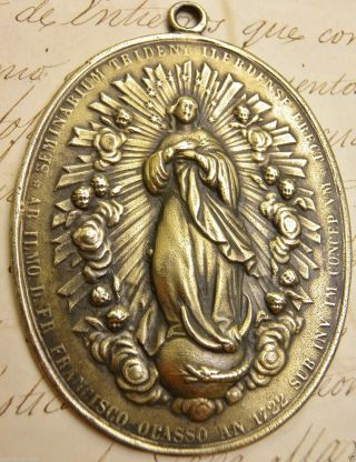 Antique 1772 Philippines Manila Cathedral Immaculate Conception Bronze Medal photo