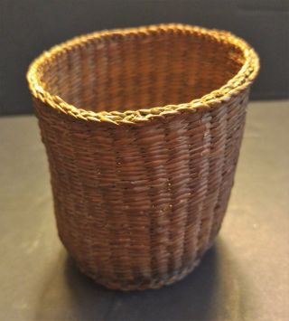 Native American Indian Antique Basket,  Authentic C.  1900 ' For Seeds Herbs Basket photo