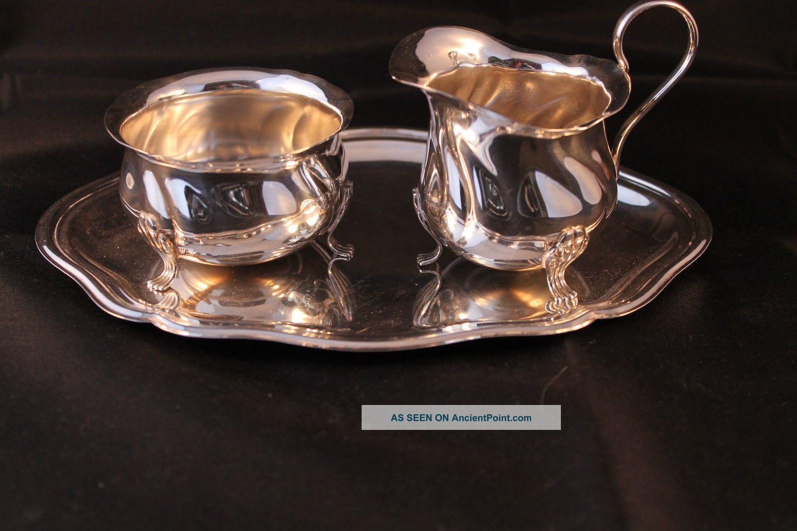 Retro Vintage Silver Plate Milk Jug & Sugar Bowl On A Tray Art Deco In Style Sugar Bowls/Tongs photo