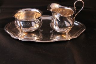 Retro Vintage Silver Plate Milk Jug & Sugar Bowl On A Tray Art Deco In Style photo