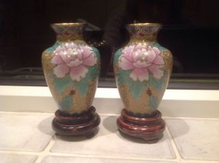 Vintage Miniature Mirror Image CloisonnÉ Vases photo