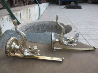 Salvage Antique In Brass Fish Shape Bathroom Pair Shelf Wall Bracket photo