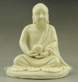 Chinese Buddhism Porcelain Eighteen Arhats Shaveling Monk Buddha Statue photo