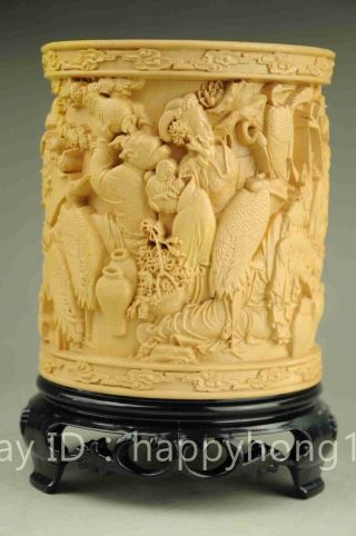 "China Boxwood Pure Hand - Carved Eight Immortals Brush Pot Pencil Vase""八仙过海"" photo"