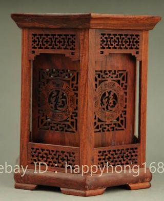 Chinese Palace Wood Handmade Carved Blessing Fu Hexagon Brush Pot Pencil Vase photo