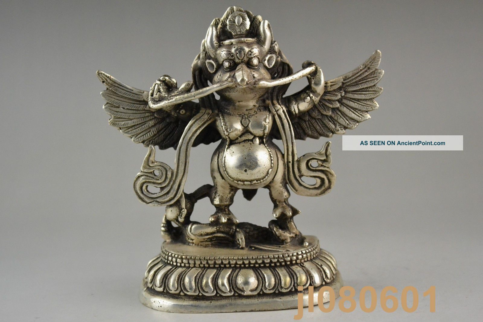 Collectible China Handwork Tibet Silver Carving Eagle God Man Decor Statue Noble Statues photo