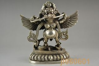 Collectible China Handwork Tibet Silver Carving Eagle God Man Decor Statue Noble photo