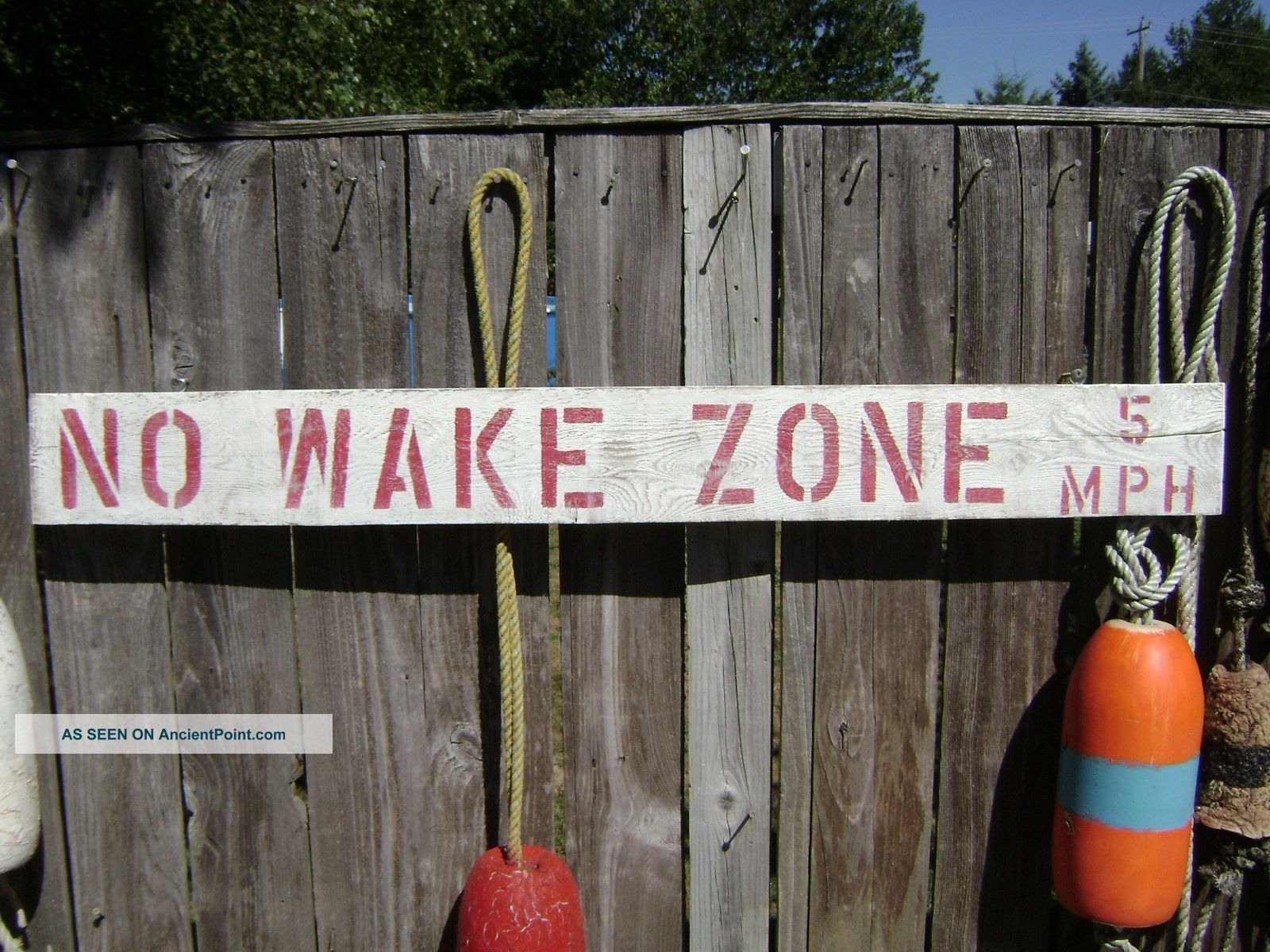 48 Inch Wood Hand Painted No Wake Zone 5mph Sign Nautical Seafood (s231) Plaques & Signs photo