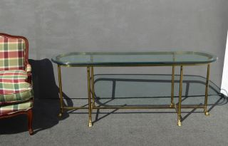 Vintage La Barge Italian Style Brass & Glass Oval Console Table Sofa Coffeetable photo