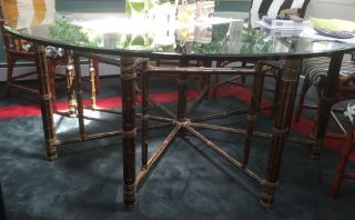 Large Mcguire Table Jay Spectre Mid - Century Modern Bamboo Rawhide Tied Glass Top photo