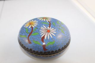 Vintage Chinese Cloisonne Enamel On Brass Round Trinket Box photo
