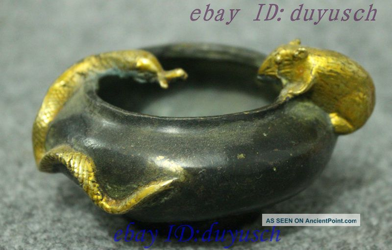 Chinese Folk Collect Copper Bronze Gilt Carving Snake Mouse Crock Jar Pot Statue Reproductions photo