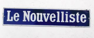 Vintage French Enamel Sign Le Nouvelliste Shabby Chic Paris Antique 15