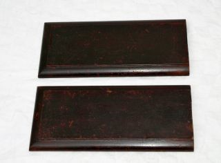 Antique Pair Reclaimed Wooden Panels Plaques Boards photo