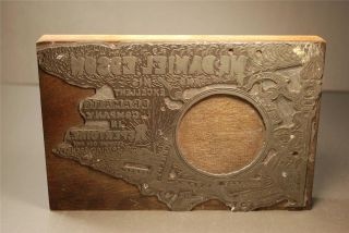Antique Metal Printing Block Stamp Dramatic Company Comedy Drama Tragedy C1920s photo