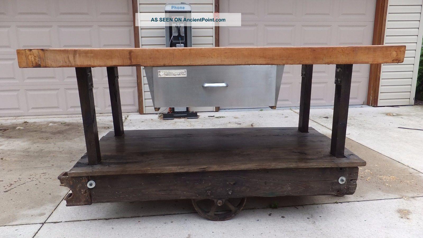 Vintage Industrial Cart Kitchen Island Butcher Block Other Mercantile ...