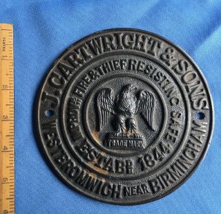 Authentic Antique Cast Brass Safe Plaque J.  Cartwright & Sons - Not A Repro photo