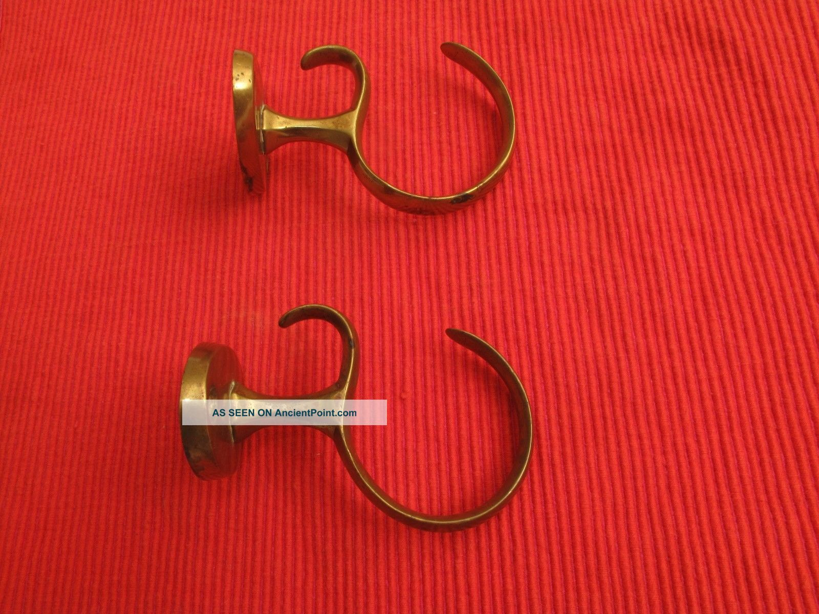 Antique Brass Chippendale Fireplace Tool Hooks C.  1770 ' S Curtain Tie Backs Hook Hearth Ware photo
