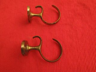 Antique Brass Chippendale Fireplace Tool Hooks C.  1770 ' S Curtain Tie Backs Hook photo