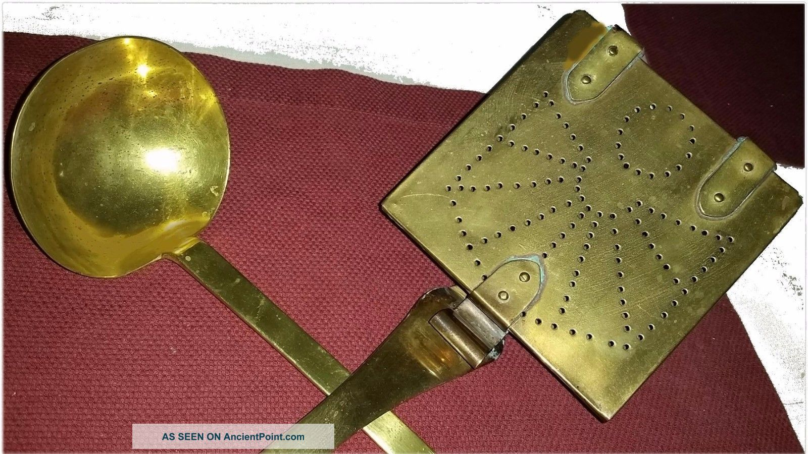 Antique Hearth Ware Solid Brass Ladle & Sq.  Bed Warmer / Roaster Punched Angel Hearth Ware photo