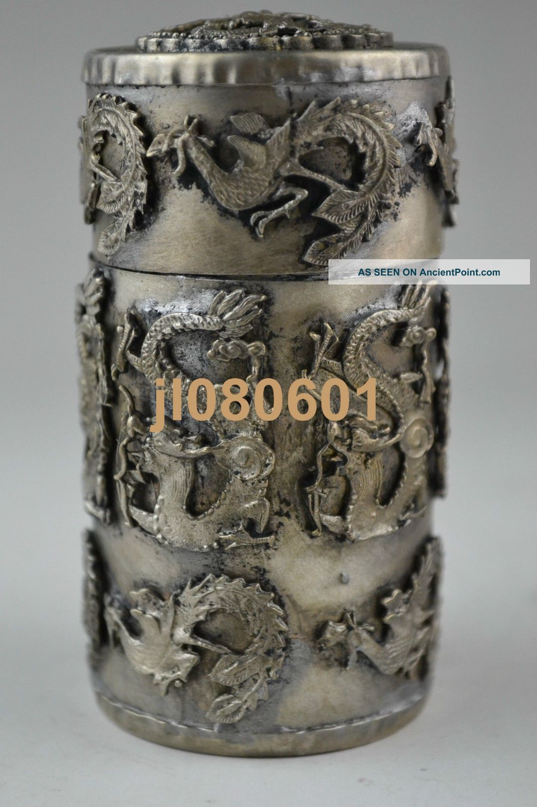 Collectible China Handwork Tibet Silver Dragon Phoenix Toothpick Box Noble Boxes photo