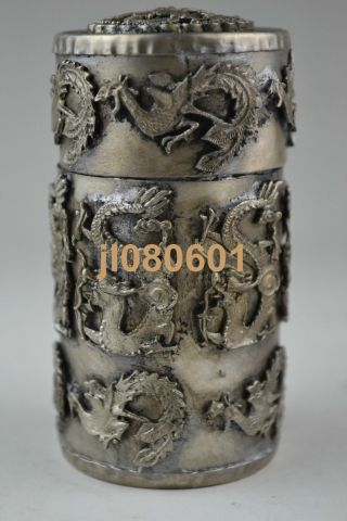 Collectible China Handwork Tibet Silver Dragon Phoenix Toothpick Box Noble photo