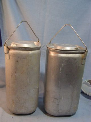 2 Vintage Swartzbaugh Military Aluminum Containers With Handles & Lids 1948 photo