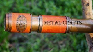 Victorian Brass Telescope Leather Wrap Antique Marine Navy Brass Telescope photo
