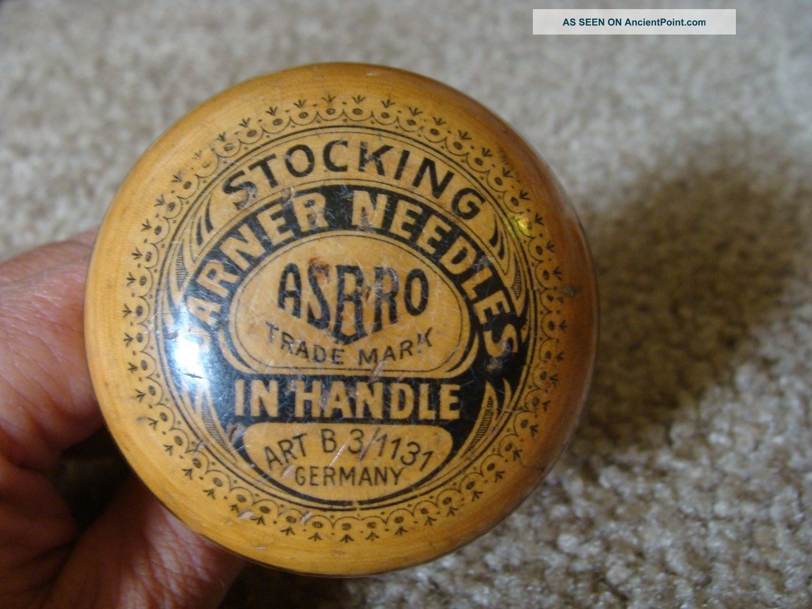 Advertising Asbro Wooden Sock Darner & Needle Case In Handle Germany H Other Antique Sewing photo