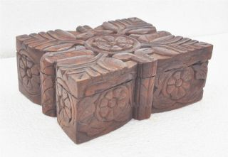 1900s Indian Antique Hand Crafted Engraved Wooden Kitchenware Spice Box photo