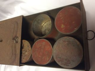 Vintage Antique Tin Spice Case Cabinet Drawer 5 Of 6 Tins Rustic Decorative photo
