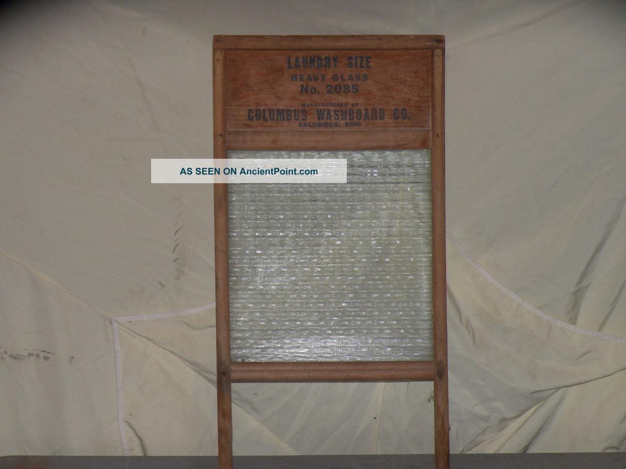 Vintage Columbus Washboard Laundry Size Heavy Glass No.  2085 Usa 26
