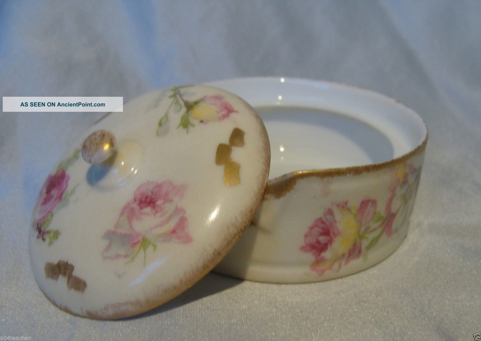 Ak Cd Limoges France Hand Painted Porcelain Stud Collar Button Box French C1890 Baskets & Boxes photo