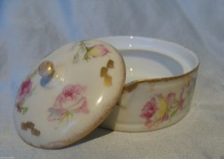 Ak Cd Limoges France Hand Painted Porcelain Stud Collar Button Box French C1890 photo