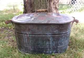 Vintage Copper Boiler Wash Tub Pot Planter Cooler W/lid Farm Barn Primitive photo