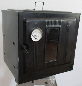 Vintage Antique 1930s Black Tin Metal Portable Stove Top Oven Camping Gear Camp photo