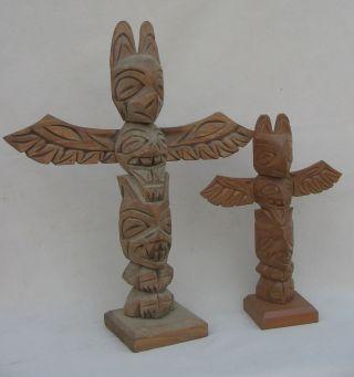Old Vintage Hand Carved Northwest Coast Native American Nootka Totem Pole Pair photo