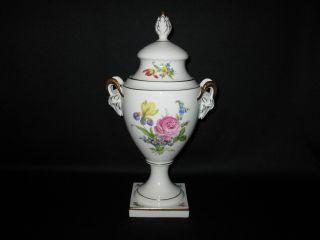 Vintage Lindner West Germany White Porcelain Urn Vase W/ Gold Rams Heads, photo