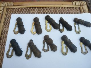 10 Antique Edwardian Wood And Brass Swing Over Large Door Key Hole Cover photo