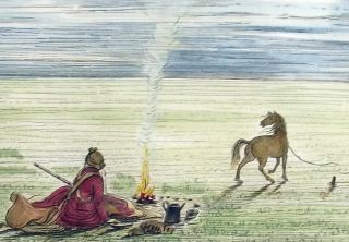 1842 G.  Catlin Handcol Engr Native American Indians Camp Fire 25 Cm photo