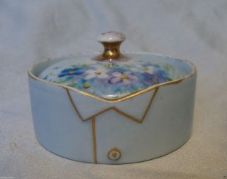 T & V Limoges France Hand Painted Porcelain Stud Collar Button Box French C1890s photo