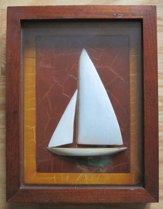 Old Folk Art Painted Half Hull Ship Sailboat Diorama Oak Wood Shadowbox Model photo