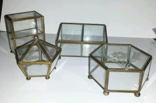 4 Vtg Brass & Glass Curio Box Table Top/shelf Miniatures,  Jewelry Display Cases photo