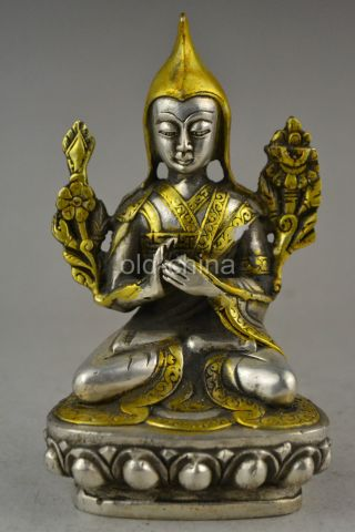 China Decorate Collectible Old Tibet Silver Carve Nepal Buddhist Buddha Statue photo
