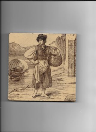 Minton Tile By William Wise,  Circa 1885 - Woman Carrying A Kettle - Sepia Tone photo