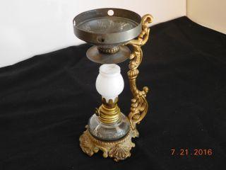 1800s Vapo Cresolene Kerosene Lamp Medical Vaporizer W Milk Glass Globe photo